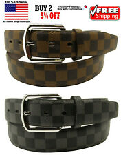 Men Women Designer Checkers Style Bonded Leather Belt Silver Chrome Metal Buckle