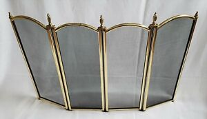 VINTAGE FIRE GUARD FOUR FOLD SPARK SCREEN GOLD PAINTED METAL BLACK MESH FINIALS