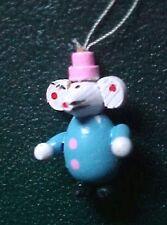 Vintage Miniature Wooden Mouse Clown Christmas Ornament