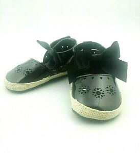 First Steps Baby Girl Shoes Black 9-12M Espadrilles Soft Bottom Ankle Strap Bow