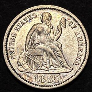 1885 Seated Liberty Silver Dime 10c MPD Mint Error F-103 R-4 High Grade UNC