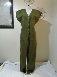 MADEWELL ARMY GREEN COTTON STRETCH BUTTON FRONT LOOSE JUMPSUIT NWT SZ M