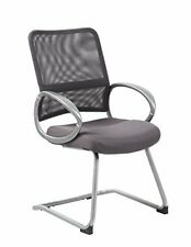 Boss Office Products Mesh Back Guest Chair with Pewter Finish in Charcoal Grey.
