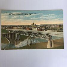 The O.W.R & N. Steel Bridge Spokane River Monroe St. Bridge Washington Postcard