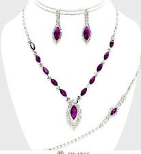 Purple Rhinestone Silver Crystal Formal Pageant Necklace Jewelry Set Earring