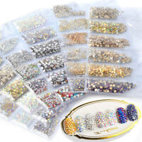 1400Pcs 3D Nail Art Glitter Diamond Gems Tips Crystal Rhinestones DIY Decor New