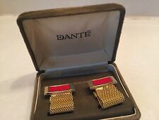 Vtg Dante Cuff links NOS Org Clam Box Red Faux Leather Detail Goldtone Wrap