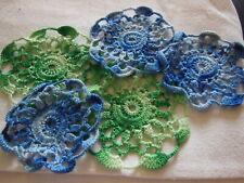 n°104- lot 5 petits napperon vintage petillant vert bleu camaieu ou application