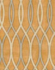 Wallpaper Modern Metallic Silver & Gold Wavy Scroll Wave Lines on Rust Orange