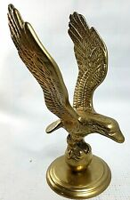 """Vintage Large Heavy Brass Flying Eagle Statue Clutching Globe Finial Topper 7"""""""
