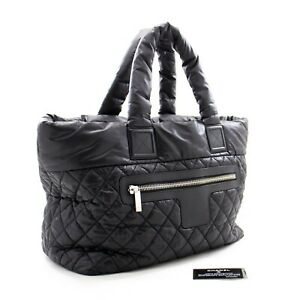 b72CHANEL Authentic Coco Cocoon Large Nylon Tote Bag Handbag Black Bordeaux