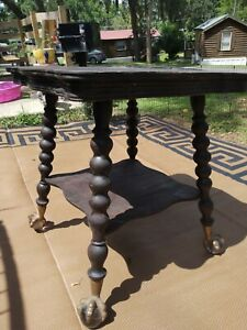 Huge 27-in Square Solid Mahogany Glass Ball And Claw Victorian Parlor Table