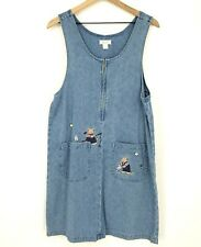 Christopher & Banks Womens Size Medium Blue Embroidered Bear Denim Jumper Dress