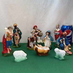 VTG 10pc ITALY 50's Baby Jesus Mary Joseph Wisemen Chalkesre Nativity Figurines