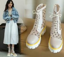 Womens Chic Polka Dot Mesh Platform Hidden Wedge Lace Up Combat Boots Shoes QQKQ