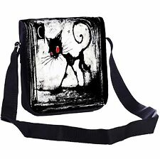 A Gothic Cat Red Eyes Small Cross-Body Shoulder Bag Handy Size