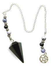 Black Obsidian w/Pentacle Pendulum #3   Free Pouch!!