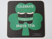 Vintage Beer Coaster Mat: GUINNESS St Patrick's Day March 17th ~ Shamrock Clover