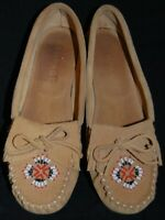 """Rampage """"Linsey"""" Brown Leather Beaded Fringed Moccassins Flats Shoes Size 8 VGUC"""