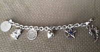 Vintage Wiccan Symbols 51.95 Grams Sterling Silver Charm Bracelet With 6 Charms