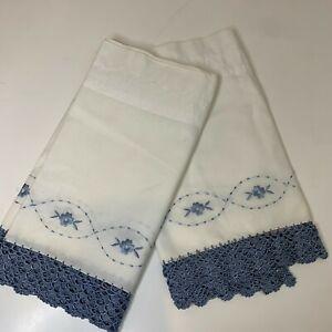 vintage curtain valance set pair 2 white blue crochet edging floral print