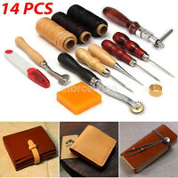 14PCS/Lot Vintage Leather Craft Tools Kit Stitching Sewing Working Hand Tool New