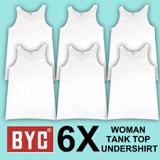 6X BYC WOMEN 100% COTTON WHITE TANK TOP UNDERSHIRT MADE IN KOREA SZ XL
