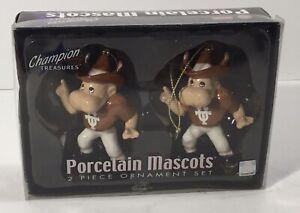 RARE Bevo Texas Longhorns 2 Piece Ornament Set Porcelain Mascots Christmas