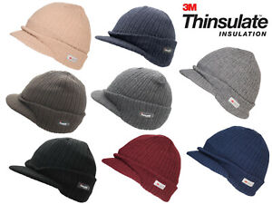 Thinsulate Peaked Knitted Beanie Hat Winter Hat One Size 8 Colours