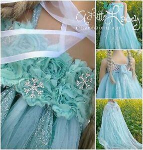 *NEW* Girls Frozen Queen Elsa Party Birthday Tutu Dress + Long Cape & Headband