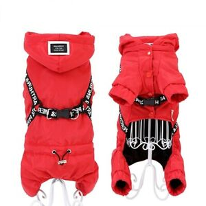 Dog Jumpsuit Warm Padded Loop Overall Puppy Jacket Winter Yorkshire Clothes Tool