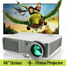 LED Home Theater Projector Movie USB HDMI and 84'' Portable Screen Matte White