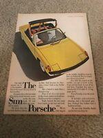 """Vintage 1972 PORSCHE CONVERTIBLE Car Print Ad 1970s YELLOW """"THE SUN PORSCHE"""""""