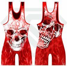 Wrestling Singlet by KO Sports Gear: Red Flaming Skull