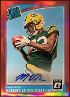 Marquez Valdes-Scantling Autographed 2018 Panini Optic Football Rookie Card #186