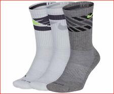 3 Pairs - Nike DRI-FIT Cushioned Training Socks - Wicks CREW White & Gray Large
