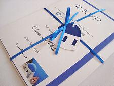 Personalised Ribbon Tied Santorini Wedding Invitation Sample
