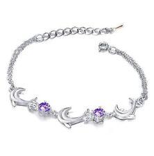 "7.5"" Women Girl Silver Bracelet Dolphin Link Purple Amethyst Crystal Gift Box AC"