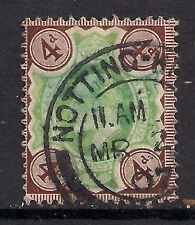 GB 1902 - 10 KEV11 4d Brown & Green Notting hill pmk.( L409 )