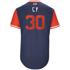 """2017 CHRIS YOUNG GAME USED """"CY"""" RED SOX ON FIELD JERSEY PLAYERS NICKNAME WEEKEND"""