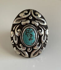 Tibetan Nepalese Antique Silver & Turquoise Oval Repousse Ring Adjustable 14gm