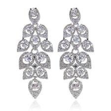 Paradise Peacock Drop Earrings Bridal Jewellery CZ Cubic Zirconia - CRYSTALA