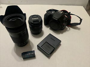 Excellent Canon EOS Rebel SL2 DSLR Camera Body, Battery/charger, Plus 2 Lenses