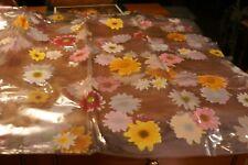 Spring Pastel Flowers PLASTIC Shower Bath Decor W/12 MATCHING HOOKS