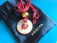 Collier Anneau Verre Fleuri & Velour Rose AGATHA Paris / French Necklace