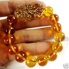 Feng Shui Citrine 12mm Yellow Crystal Pi Yao Pi Xiu Xie Bracelet For Wealth