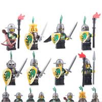 8Pcs Medieval Kingdom Green Dragon Knight Minifigures Building Block DIY Toy Set