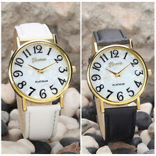 Retro Big Numbers Womens Watches Leather Quartz Analog Men Wrist Watch For Woman