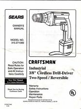 "Craftsman-Industrial 3/8"" Drill-Driver-Model 315.271390-Owner's Manual"