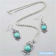 Turquoise Crystal Owl Pendant Tibet Silver Earrings Hooks+Necklace Jewelry Set